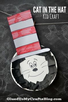 Paper Plate Dr Seuss Cat In The Hat Kid Craft is part of Kids Crafts Preschool Dr. Seuss - Paper Plate Dr Seuss Cat In The Hat Kid Craft Grab the book to read in celebration and really make an afternoon out of it! Dr. Seuss, Dr Seuss Art, Dr Seuss Crafts, Dr Seuss Week, Kids Crafts, Preschool Projects, Hat Crafts, Daycare Crafts, Toddler Crafts