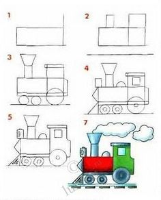 draw a locomotive step by step  I want to make this a center!  If they read a word they draw part of the train!