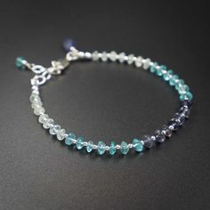 Apatite aquamarine Iolite sterling silver handmade