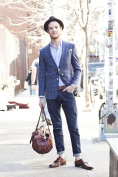 window square jacket, brown leather accessories, fedora, no socks, rolled jeans, casual but classic mens wear. #mens #fashion #style