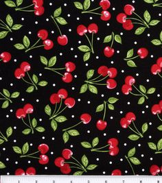 $9.99/yd  Novelty Cotton Fabric-Dots with Cherries & fabric at Joann.com