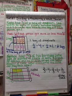 Dividing a fraction by a whole number Act Math, Math 8, Guided Math, Math For Kids, Dividing Fractions, Math Fractions, Math Enrichment, Math Activities, Classroom Environment