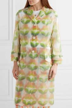 Miu Miu - Printed Vinyl Trench Coat - Green - IT44