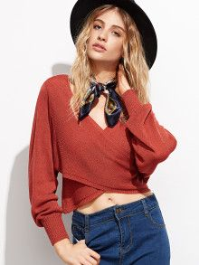 Brick Red Batwing Sleeve Wrap Sweater