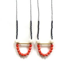 White, Grey & Neon Orange Beaded Long Necklace Brass Tubes Strand Necklace Pendant Necklace Colorful Chunky Necklace