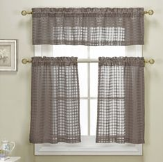 Polycotton Star Cut Out Kitchen Curtain Drape Tier & Valance Swag Set - Red #DESIGNERLINENS #Contemporary