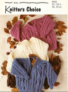 Vintage PDF Childrens Knitting Pattern - Knitters Choice E952 - sweater cardigan Instant Download on Etsy, £0.75: