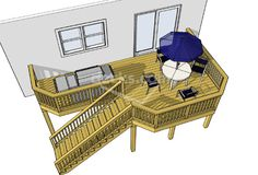 15 sizes available for this 189 sf deck. Sizes start at 22 x 12 all the way up to 30 x 16. Download any one of the free deck plans today!!