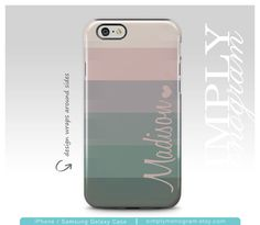 Stripe iPhone Case with Personalization in Pink/Green | simplymonogram on Etsy https://www.etsy.com/listing/253109484/iphone-6-case-iphone-6s-iphone-7-case