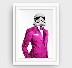 Star wars print pink stormtrooper art print star by GalliniDesign