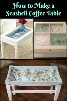 Bring the Beach Vibe to Your Outdoor Area by Making a Seashell Coffee Table Beachy Coffee Table, Coffee Table Redo, Outdoor Coffee Tables, Coffee Table Design, Home Decor Furniture, Furniture Makeover, Diy Home Decor, Terrarium Table, Marine Style