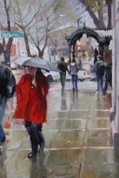 """Rain Shine Seattle cityscape, oil painting by Robin Weiss"" - Original Fine Art for Sale - © Robin Weiss"