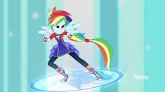 #1658308 - clothes, equestria girls, forgotten friendship, friendship power, leggings, ponied up, ponytail, rainbow dash, safe, screencap, shoes, sneakers, solo, spoiler:eqg series, super sentai stance, wings - Derpibooru - My Little Pony: Friendship is Magic Imageboard