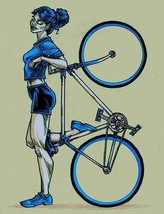 Blue pinup bicycle