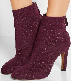 Alaia Embroidered suede ankle boot in rich merlot