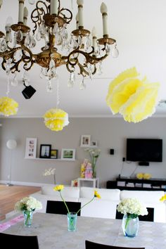 Chandeliers and touches of yellow