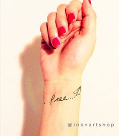 2pcs free paperplane temporary tattoo  InknArt wrist by InknArt