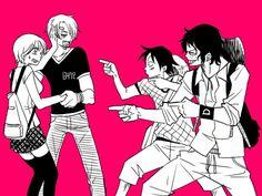 Nami,Sanji,Luffy,and Ace