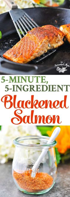 This 5-Minute Blackened Salmon is an easy dinner recipe with just 5 ingredients! Seafood Recipes   Healthy Recipes   Low Carb   Gluten Free