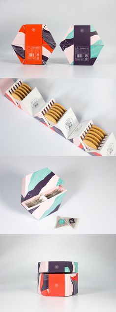 Great packaging design! 3D geometric shapes provide a new un-boxing experience for everyday items like tea and cookies.