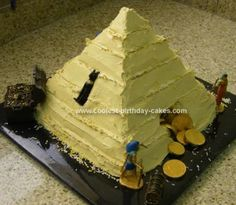 I made this Indiana Jones Pyramid Cake for my son's birthday party. We had an archaeological treasure hunt in the park! To make the cake I baked two sq Indiana Jones Birthday Party, 10th Birthday, Birthday Parties, Birthday Ideas, Indiana Jones Cake, 10e Anniversaire, Egyptian Party, Decoration Patisserie, Cool Birthday Cakes