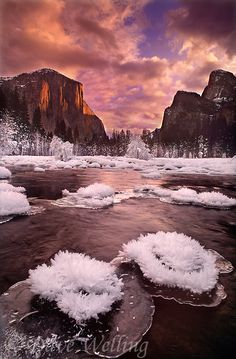 Setting winter sun lights up El Capitan clearing storm clouds and rime ice formations on the Merced river  Photo by Dave Welling