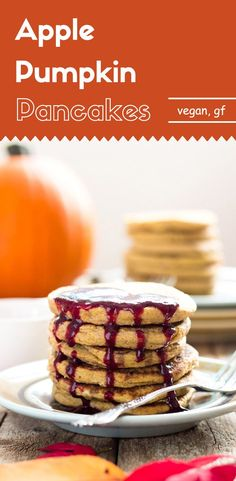 The combination of pumpkin puree, spiced applesauce, and some cinnamon powder makes these apple pumpkin pancakes a perfect breakfast for this season. You'll get only 93 calories for each pancake. (vegan, gluten-free)