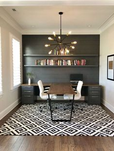 Find the best idea to create a home office for two.- Find the best idea to create a home office for two. Sharing a home office sounds like … – Guest Room Office, Home Office Space, Home Office Design, Home Office Decor, Home Design, Office Designs, Modern Office Decor, At Home Office Ideas, Home Office Lighting