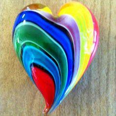 hearts   Beautiful colored glass heart rainbow