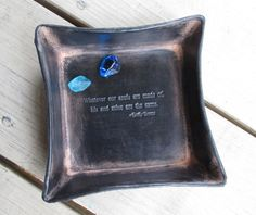 Third anniversary gift. Emily Bronte quote leather tray.