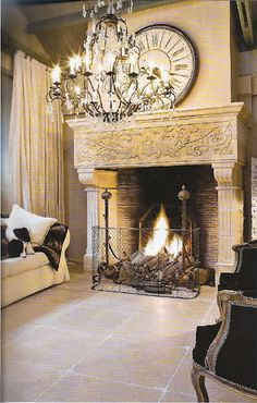 The Enchanted Home: Massive, Ornate Fireplace Beautiful Old World Style Fireplace Mantle, Fireplace Design, Mosaic Fireplace, Stone Mantel, Mantle Clock, Foyers, Enchanted Home, Tuscan Style, Home And Living