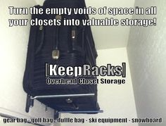 What to do with luggage when not in use? ALL NEW - Patent Pending - retractable… Overhead Garage Storage, Garage Storage Solutions, Garage Organization, Organization Ideas, Storage Ideas, Reach In Closet, Closet Space, Tote Storage, Closet Storage
