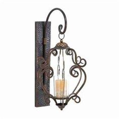 b45e76f97f7 Woodland Imports 1 Candle Brown Metal Sconce Candle Holder 69174 Lantern  Candle Holders