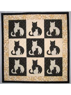 """Full sized cat applique templates are provided and well as clear, concise instructions for making 5 different sized quilts.  Pattern includes instructions for:  Pillow Cover, 18"""" square (1 block)  Wall Hanging, 20"""" x 21"""" (1 block)  Bab..."""