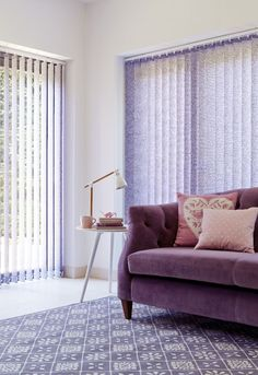 Sheer window dressings can add a touch of colour to match with your furniture. Hillarys Blinds, Made To Measure Blinds, Purple Interior, Window Dressings, Large Windows, Sliding Doors, Shutters, Accent Chairs, House Design