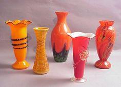 "233: Czech. vase orange glass w/black trim 9 1/2"", Ita : Lot 233"