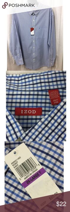 """Izod Blue Tattersall Check Button Shirt NWT 2XLT Description: •Blue tattersall check pattern •100% cotton •Chest pocket w/Izod logo •Long sleeves/button cuffs •Button front  •NWT •From a smoke-free home •Retail price: $60  Measurements: •Size: 2XLT •Chest/Width: 238""""  •Length: 36"""" •Sleeve: 35"""" Izod Shirts Casual Button Down Shirts"""
