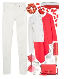 """""""Off 210"""" by juuliap ❤ liked on Polyvore featuring rms beauty, Retrò, Kate Spade, Warehouse, Opening Ceremony, Monki, Crate and Barrel, white, red and denimjacket"""