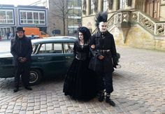 A photo from our wedding day with our charming chauffeur on the left. The day I was (quite literally) a black veil bride :p