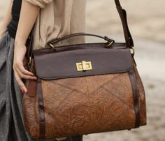 Patterned Leather Bag: <3, I miss my leather bag! Have to get one soon! I like the style of this one.