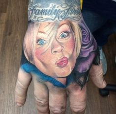 Best Realist Tattoo With Blue Rose and Lettering on Hand Tattoo