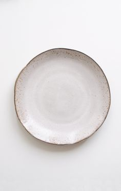 "Slabe Round Dinner Plate 10.5"" - Black clay slab round plate with white glaze / by Akiko Graham // from Anaise"