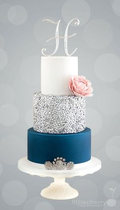 Navy and silver sequins cake