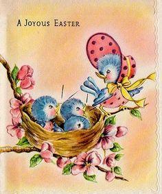 A joyous Easter card with blue birds