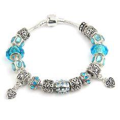 Happy Blue European Style 925 Silver Charm Bracelet
