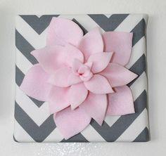 DIY felt flower on canvas