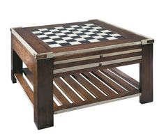 Authentic Models Games Table, features three tops and six features different game layouts. It can also be used as a coffee table. #interiordesign #home #homedecor #interior123 #boardgames #wood #furniture