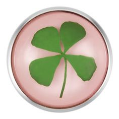 St. Patrick's Day Clover Pink Snap can be snapped onto your favourite Magnolia and Vine necklace, bracelet, ring, purse, tuque, fingerless gloves, hats and other accessories.  www.mymagnoliaandvine.ca/lina