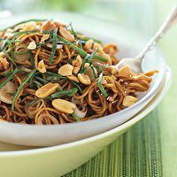 Spicy Sesame Noodles with Chopped Peanuts and Thai Basil...YUM!!