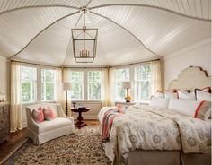 Bedroom With Unique Ceiling